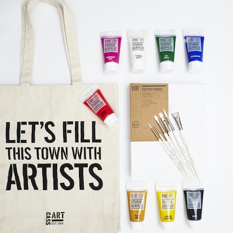 Acrylic Paint Gift Set with Paint, Canvas, Brushes and Gift Bag | Cass Art