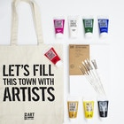 Acrylic Paint Gift Set with Paint, Canvas, Brushes and Gift Bag