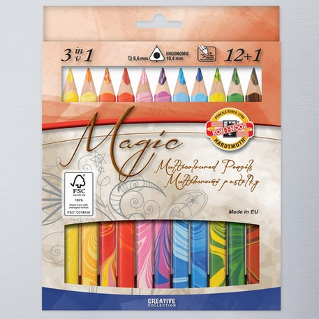 Koh-i-noor Jumbo Triangular Coloured MAGIC Pencils Set of 13 | Cass Art