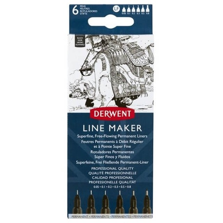 Derwent Line Maker Black Set of 6 | Cass Art