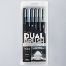 Tombow Dual Brush Pen Grey Set of 6