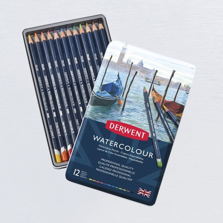 Derwent Watercolour Pencil Tin Set of 12 | Cass Art