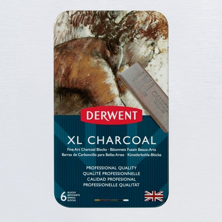 Derwent XL Charcoal Tin Set of 6 | Cass Art