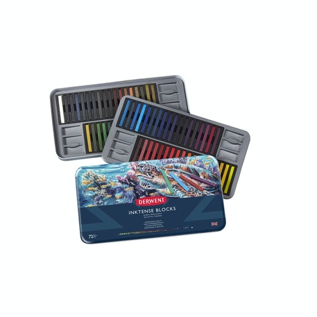 Derwent Inktense Blocks Tin Set of 72 | Cass Art