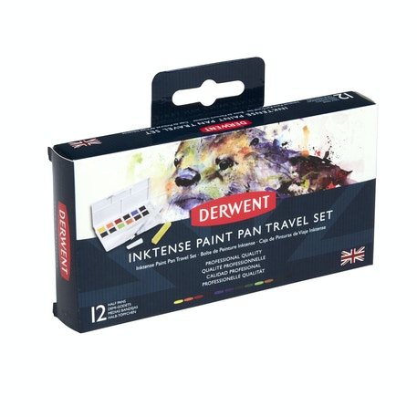 Derwent Inktense Paint Pan Travel Set of 12 Palette #01