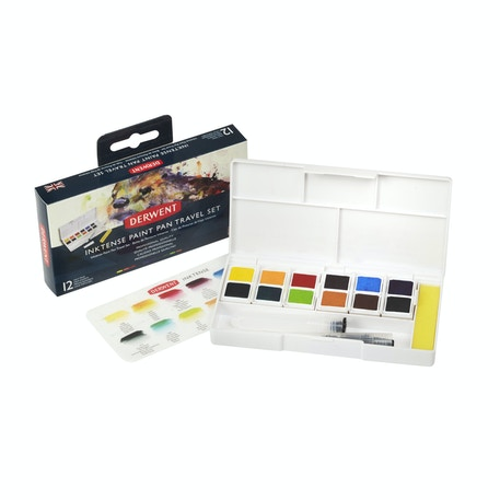 Derwent Inktense Paint Pan Travel Set of 12 Palette #01 | Cass Art