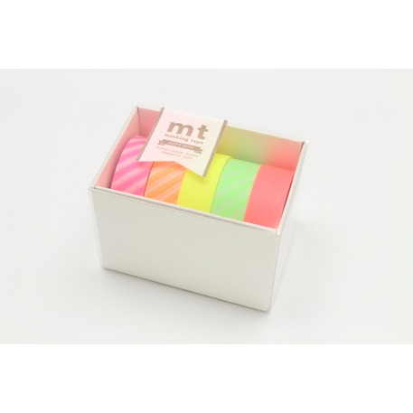 MT Washi Masking Tape Gift Box Neon 2 Pack of 5 Rolls | Cass Art