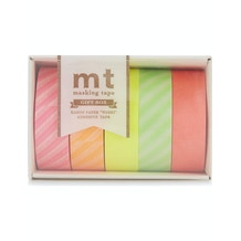 MT Washi Masking Tape Gift Box Neon 2 Pack of 5 Rolls