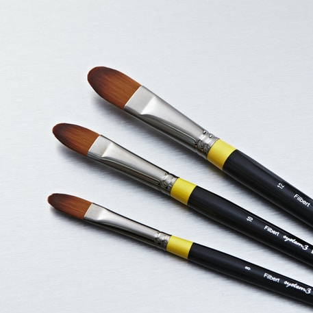 System 3 Long Handle Filbert | Synthetic Brushes | Cass Art