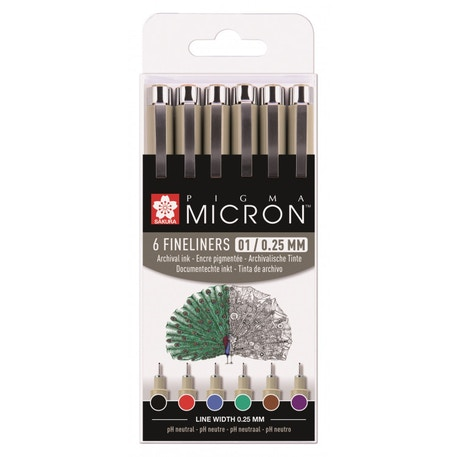 Sakura Pigma Micron Fineliner Pens 01 / 0.25mm Assorted Basic Colours Set of 6 | Cass Art