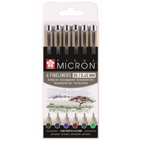 Sakura Pigma Micron Fineliner Pens 05 / 0.45mm Assorted Earth Colours Set of 6 | Cass Art