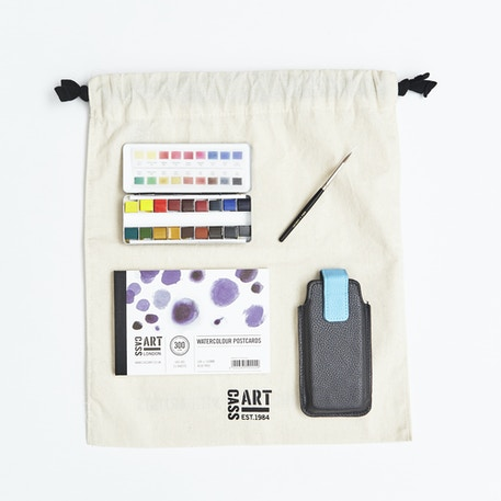 Watercolour Travel Gift Set with Paint, Paper, Brushes and Gift Bag | Cass Art