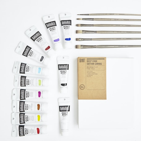 Professional Acrylic Painters Set with Paint, Brushes & Canvas | Cass Art