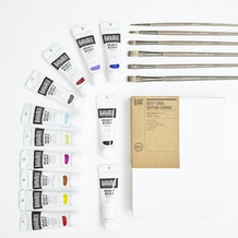 Professional Acrylic Painters Set with Paint, Brushes & Canvas