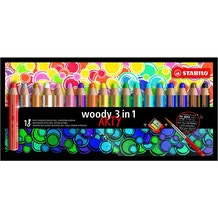 STABILO woody ARTY  with Sharpener and Paintbrush Assorted Colours Set of 18