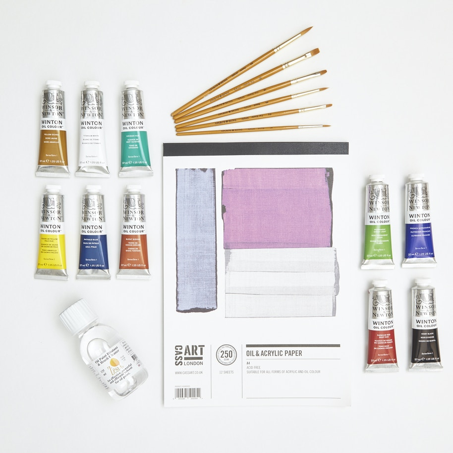 Oil Painting Starter Set With Paint Brushes Canvas Paper Medium