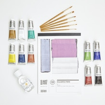 Oil Painting Starter Set with Paint, Brushes, Canvas Paper & Medium