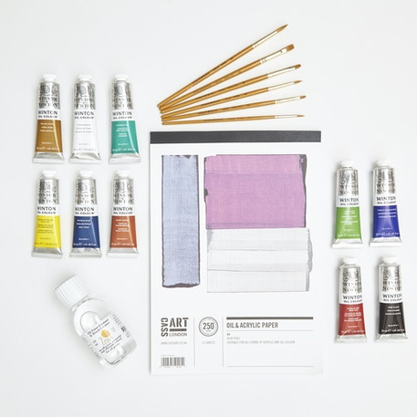 Oil Painting Starter Set with Paint, Brushes, Canvas Paper & Medium   Cass Art