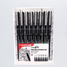 Uni ball PIN Fineliners Black Set of 8