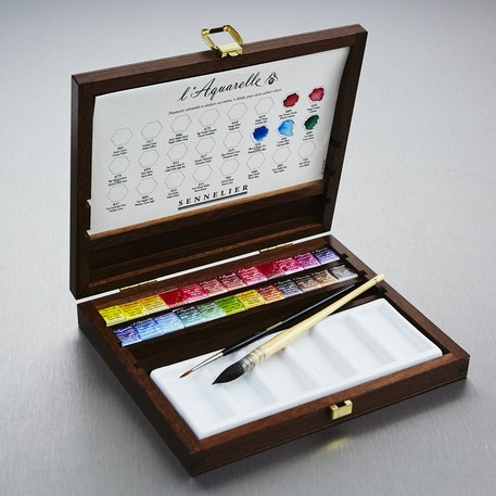 Sennelier Watercolour Wooden Box Set of 24 Half Pans | Artist Watercolours