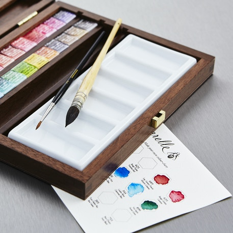 Sennelier Watercolour Wooden Box Set of 24 Half Pans | Artist Watercolours | Cass Art