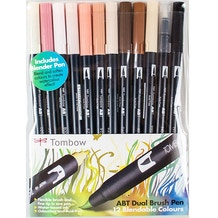 Tombow Dual Brush Pens Skin Tones Set of 12