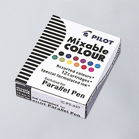 Pilot Parallel Pen Cartridge Assorted Colours Pack of 12 | Cass Art